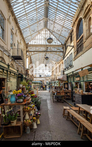 Early morning at St Nicholas Market in Bristol's old city quarter a thriving assortment of small independent traders - Stock Photo