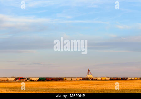 a yellow wheat field, railway cars, trucks traveling along the road, a grain terminal under a huge blue sky with - Stock Photo