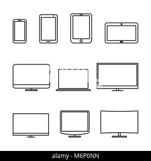 Set of computer monitors, laptop, e-book, tablets and mobile phones from thin lines. Electronic gadgets isolated - Stock Photo