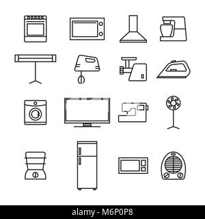 Set of different elements of household appliances from thin lines, isolated on white background, vector illustration. - Stock Photo
