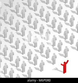 Set of stick figures. Leader and team concept. Flat 3D isometric style, vector illustration. - Stock Photo