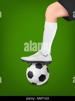 Vector soccer player with ball. Leg of a football player in white golf and black shorts on top of the ball. Sports - Stock Photo