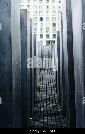 Memorial to the Murdered Jews of Europe. Designed by architect Peter Eisenman and engineer Buro Happold, Berlin, - Stock Photo