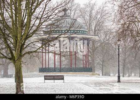 Clapham Common Bandstand in winter - Stock Photo