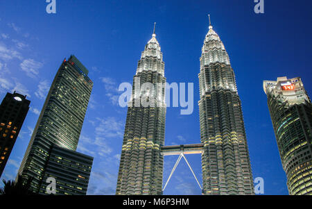 Cityscape scene of Petronas Towers at Kuala Lumpur City Centre (KLCC), Kuala Lumpur, Malaysia - Stock Photo