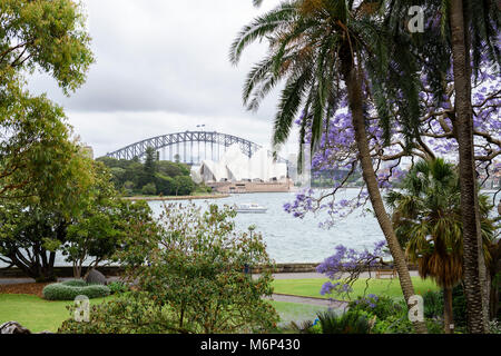 Sydney, Harbour Bridge and Opera House from Royal Botanic Gardens , New South Wales, Australia. - Stock Photo