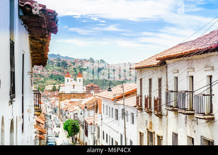 View on Colonial buildings in the old tow of Sucre - Bolivia - Stock Photo