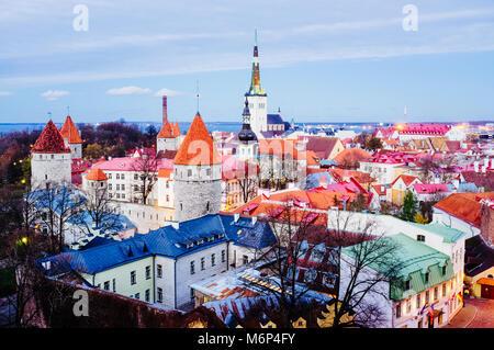 Tallinn old town overview at dusk. Tallinn, Estonia - Stock Photo