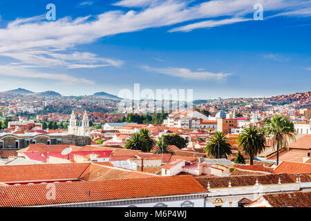 View on cityscape of colonial town Sucre in Bolivia - Stock Photo