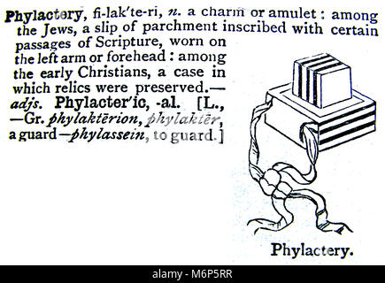 An entry from from Chamber's 20th century Dictionary - UK - circa 1920-  Phylactery Jewish amulet charm - Stock Photo