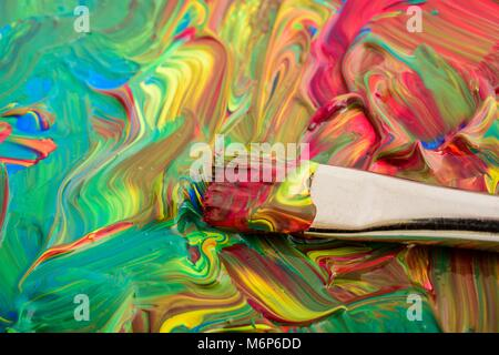 paintbrush on water color background - Stock Photo