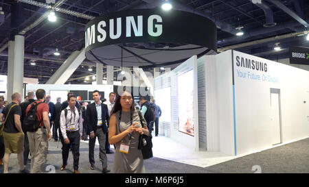 Las Vegas, USA - Circa 2017: Samsung booth on showroom floor at NAB show convention center. Promoting new television - Stock Photo