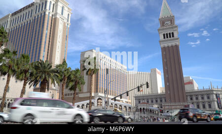 Las Vegas, USA - Circa 2017: Venetian hotel resort casino low angle establishing view day time exterior outside - Stock Photo