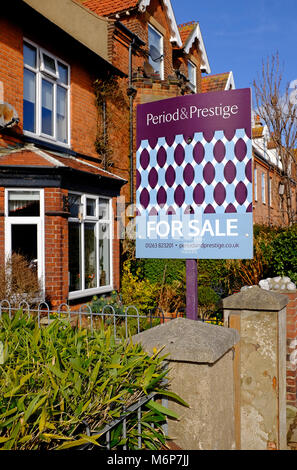 large victorian terraced house for sale, sheringham, north norfolk, england - Stock Photo