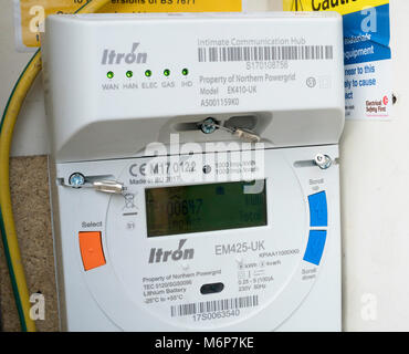 A Northern Powergrid Itron smart electricity meter for EDF, north east England, UK - Stock Photo