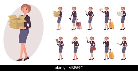 Cartoon character design female collection in ten different pose and gesture - Stock Photo