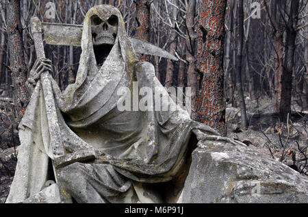 grim reaper statue with forest destroyed by fire in background - Stock Photo