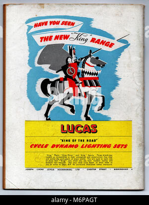 1950's advert for Lucas Cycle Dynamo Sets from the Boy's Own Paper. - Stock Photo