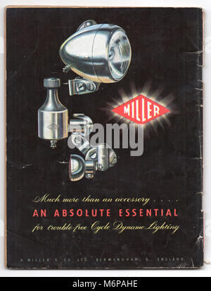 1950's advert for Miller Cycle Dynamo Lighting from the Boy's Own Paper. - Stock Photo