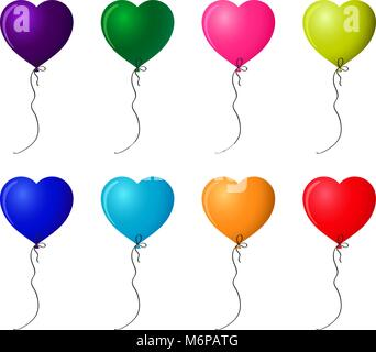 Set of colorful realistic helium heart shaped balloons isolated on white background. Vector clip art for festive - Stock Photo