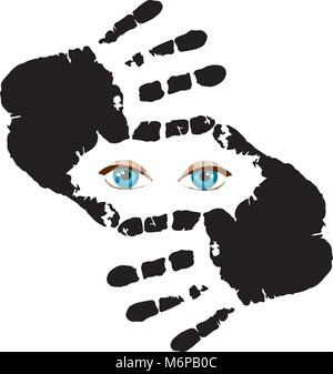 Blue humans eyes looking at you through hand frame. Nice frame made of fingers and eyes inside. Vector illustration - Stock Photo
