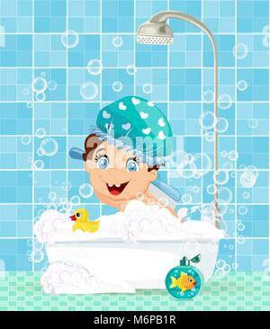 Cute little boy cartoon character with smiling face and blue eyes dressed in blue hat washing in bathtub with foam, - Stock Photo