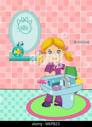 Vector cartoon illustration of cute blonde  little girl dressed in pajamas brushing teeth in bathroom with tiled - Stock Photo