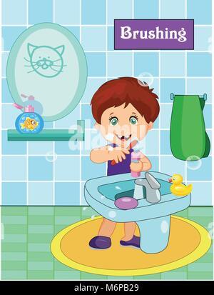 cute little boy brushing teeth in bathroom. Vector illustration - Stock Photo