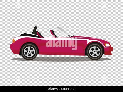 Red modern cartoon colored cabriolet car isolated on transparent background. Sports car without roof vector illustration. - Stock Photo