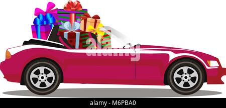 Purple modern cartoon cabriolet car full of gift boxes isolated on white background. Sport car. Vector illustration. - Stock Photo