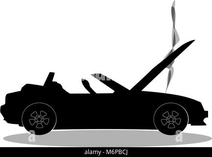 Black silhouette of broken cabriolet sport cartoon car with opened hood covered with  smoke. Sports car crash, accident. - Stock Photo