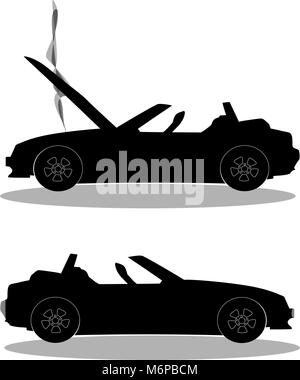 Black silhouette of broken cabriolet sport cartoon car with opened hood covered with  smoke. Car crash before and - Stock Photo
