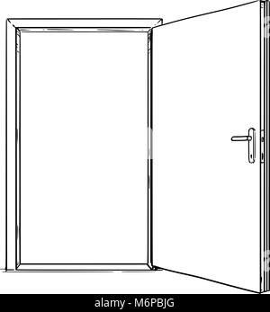 Cartoon of Open Modern Door - Stock Photo