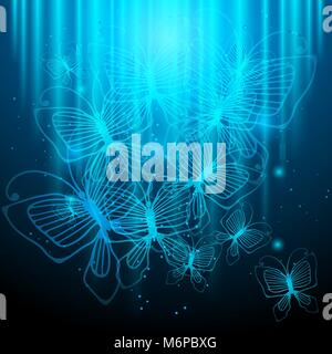 Night butterflies on glowing abstract background - Stock Photo