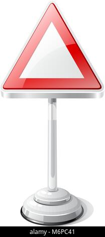 Warning road traffic sign isolated on white - Stock Photo