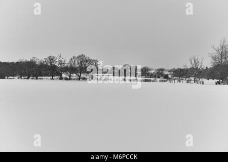 After the beast from east hits County Durham the fields and the surrounding countryside are covered in a heavy blanket - Stock Photo