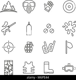 Paintball Game & Equipment Icons Thin Line Vector Illustration Set - Stock Photo