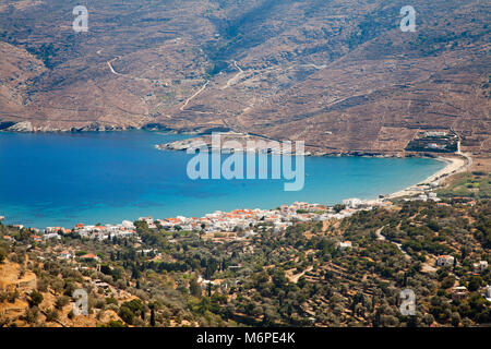 Korthi Bay and Ormos Korthiou village, Andros island, Cyclades islands, Aegean sea, Greece, Europe - Stock Photo