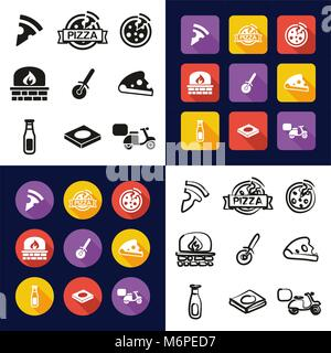 Pizza All in One Icons Black & White Color Flat Design Freehand Set - Stock Photo