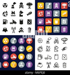 Pollution All in One Icons Black & White Color Flat Design Freehand Set - Stock Photo
