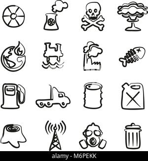 Pollution Icons Freehand - Stock Photo