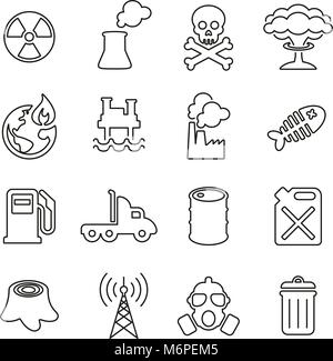 Pollution or Contamination Icons Thin Line Vector Illustration Set - Stock Photo