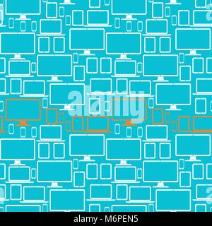 Seamless pattern with electronic devices - Stock Photo