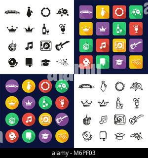Prom All in One Icons Black & White Color Flat Design Freehand Set - Stock Photo