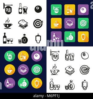 Pub All in One Icons Black & White Color Flat Design Freehand Set - Stock Photo