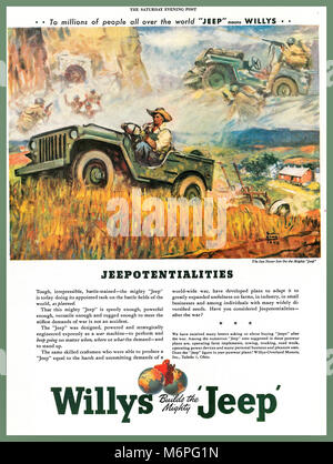 Vintage WW2 1940's Magazine Advertising for the American Willys Jeep. Illustrating ' Jeepotentialities' for a post - Stock Photo