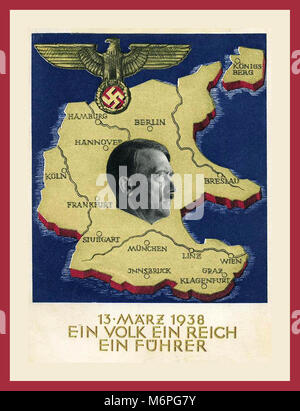 "1930's Nazi Propaganda 'Anschluss' poster map of Germany with Nazi Eagle, Swastika and Adolf Hitler. ""EIN VOLK EIN - Stock Photo"