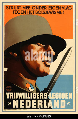 WW2 Vintage Nazi Germany Recruitment Propaganda Poster Waffen SS Foreign Divisions Waffen SS initiated strong propaganda - Stock Photo