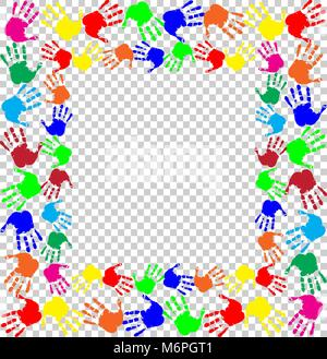 Bright rainbow frame with empty copy space for text or image and multicolored handprints border isolated on transparent - Stock Photo