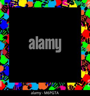 Colorful rainbow frame work with empty copy space for text or image and multicolored handprints border isolated - Stock Photo